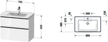 Duravit D-Neo badmeubelset met wastafel 80x48x20 cm, wit -