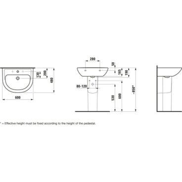 Laufen PRO B wastafel/fontein 480 x 190 mm, wit