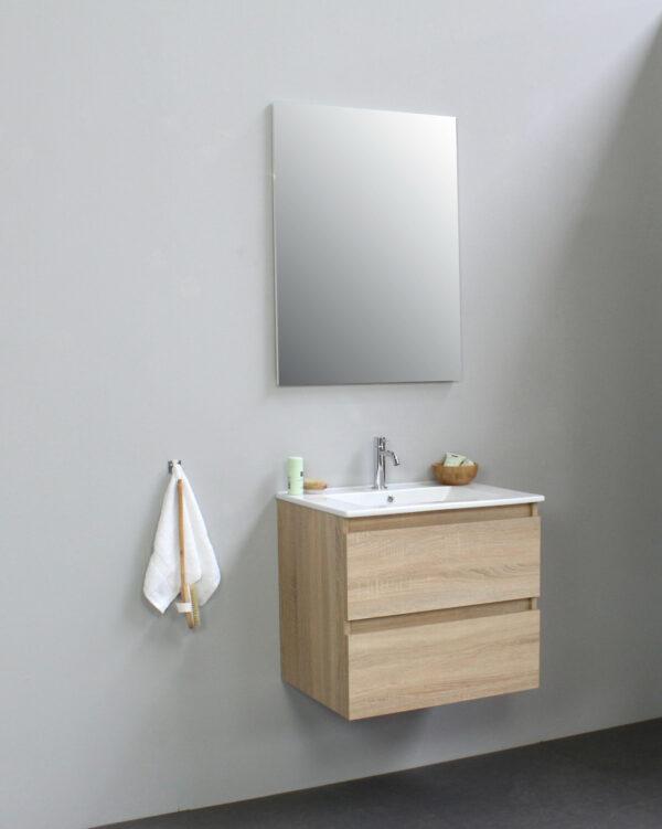 Stef badmeubel - 60 cm - keramische wastafel - 1 kraan gat - eiken onderkast - met spiegel