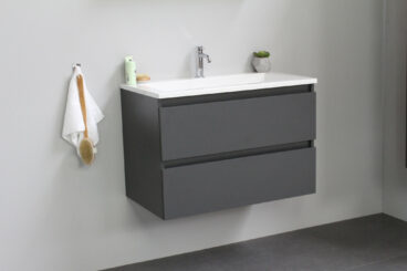Stef badmeubel - 80 cm - acryl wastafel - 1 kraan gat - mat antraciet onderkast