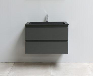 Stef badmeubel - 80 cm - acryl wastafel mat zwart - 1 kraan gat - mat antraciet onderkast