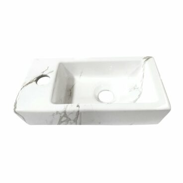 Wiesbaden One Pack Mini-Rhea fontein 36x18 cm links en Amador toiletkraan, Carrara