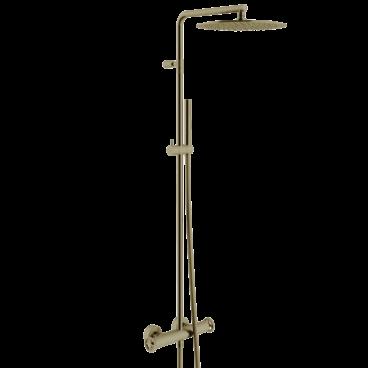 vtwonen Flame thermostatische regendoucheset inclusief hoofddouche, staafhanddouche, glijstang en doucheslang 122,2 cm, brons