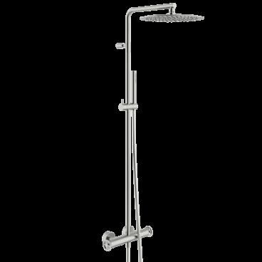 vtwonen Flame thermostatische regendoucheset inclusief hoofddouche, staafhanddouche, glijstang en doucheslang 122,2 cm, geborsteld rvs