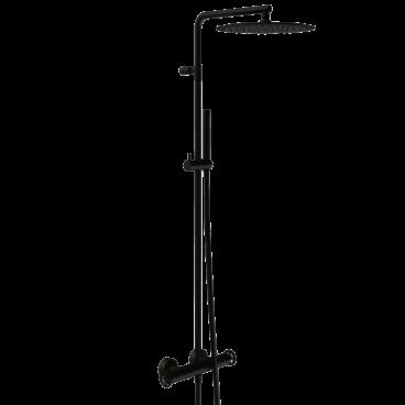 vtwonen Flame thermostatische regendoucheset inclusief hoofddouche, staafhanddouche, glijstang en doucheslang 122,2 cm, mat zwart