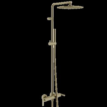 vtwonen Grip thermostatische regendoucheset inclusief hoofddouche, staafhanddouche, glijstang en doucheslang 122,2 cm, brons