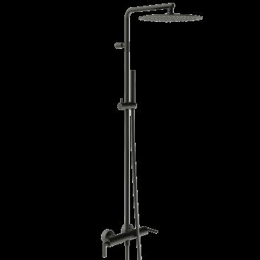 vtwonen Grip thermostatische regendoucheset inclusief hoofddouche, staafhanddouche, glijstang en doucheslang 122,2 cm, zwart staal