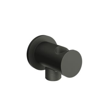 vtwonen Solid handdouchehouder met doucheslangaansluiting 5 x 7 cm, zwart staal