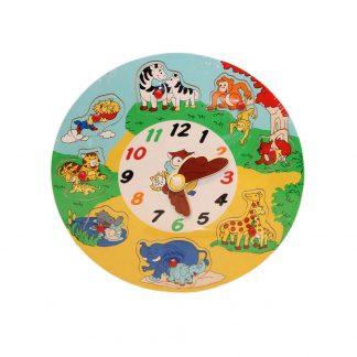 Träpussel Klocka - lär dig klockan - med djur