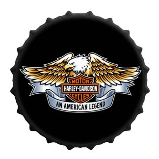 En plåtskylt jätte kapsyl med Harley Davidson logo örn 40 cm