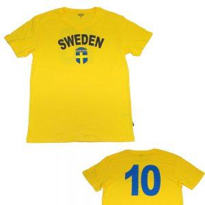 Gul Sverige T-shirt Sweden med tryck på bröst och rygg 158/164