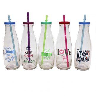 6 st glasflaskor med lock sugrör ordspråk text mjölkflaska