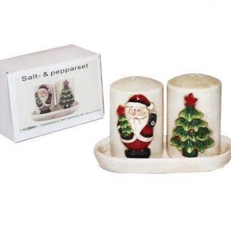 Salt- och pepparset på fat - Jultomte och Gran