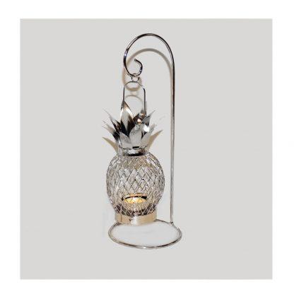 Vacker silverfärgad ljuslykta för värmeljus Ananas