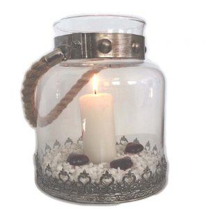 Pampig lykta glas med spetsliknande dekorationer rephandtag