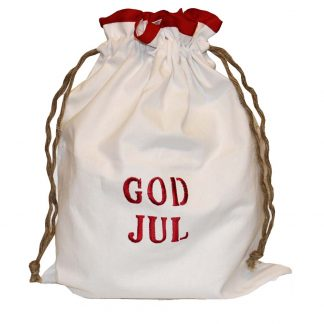 Julklappspåse tomtepåse julpåse tyg med text God Jul