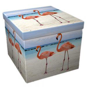 Läcker blå/vit hopfällbar pall med förvaring i Flamingo