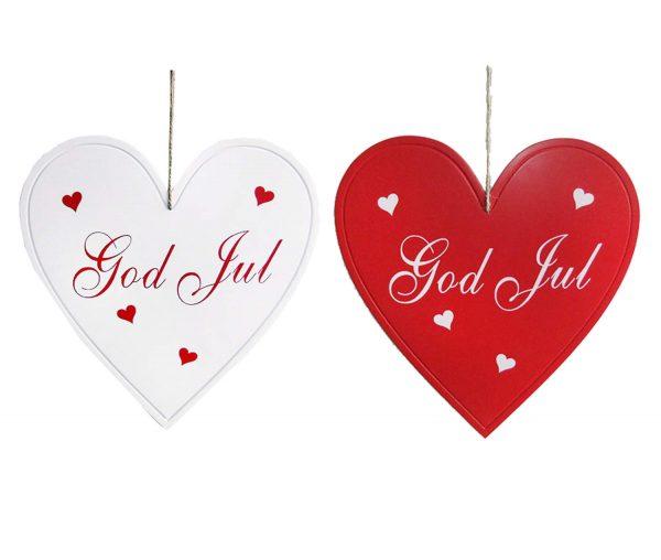 Stort rött hjärta i trä med text God Jul