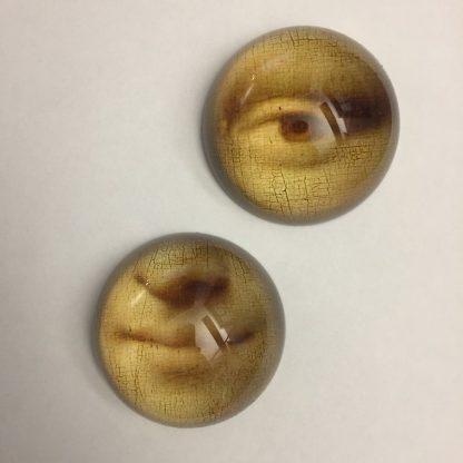 Mona Lisa Öga och mun 2 st pappersvikt i glas 8 cm