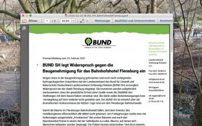 BUND SH legt Widerspruch gegen die Baugenehmigung für das Bahnhofshotel Flensburg ein