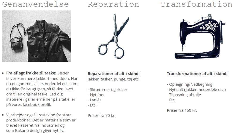 Vi arbejder i genbrugsskind, laver reparationer og transformationer