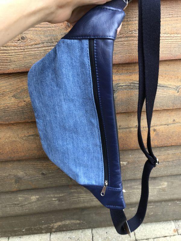 bæredygtig bumnbag af upcycled læder og jeans