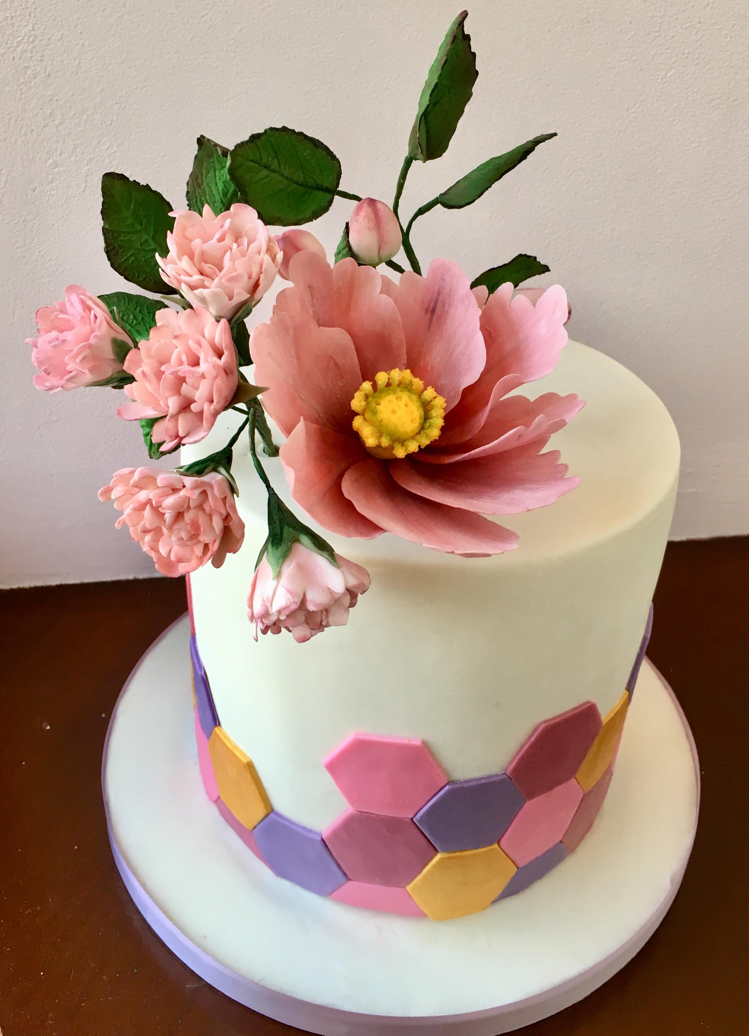 Bake Yorkshire sugar flowers geometric birthday cake