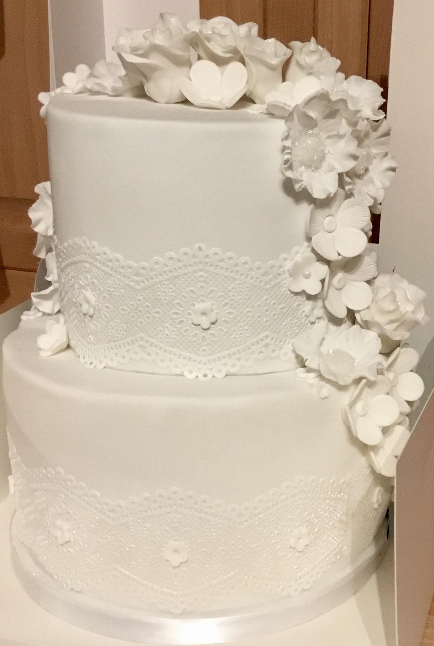 Bake Yorkshire white flower floral lace wedding anniversary cake