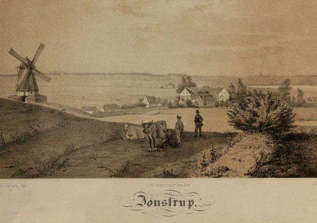 Gammelt postkort mølle og udsigt over landskab