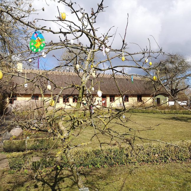 Træ med påskeæg i baggrunden gul gård med stråtag