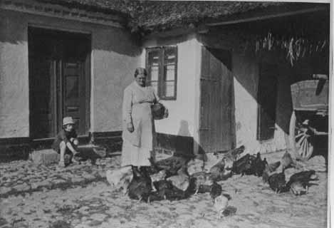 Kvinde og dreng på gårdsplads med høns omkring dem