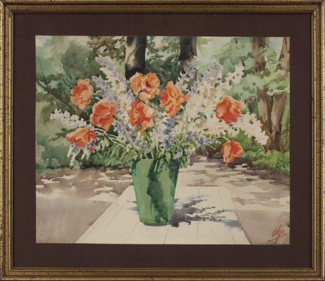 Maleri med blomster buket i grøn vase