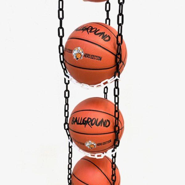 1 stk BallOnWall Hanger boldholder til 4 Basketbolde - Sort