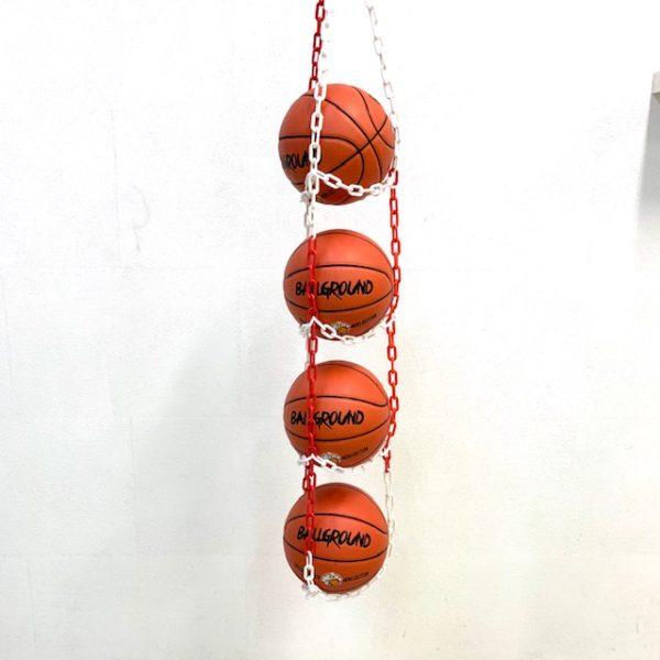 1 stk BallOnWall Hanger boldholder til 4 bolde - Rød & Hvid