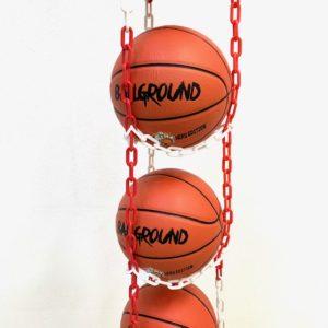 1 stk BallOnWall Hanger boldholder til 4 Basketbolde - Rød