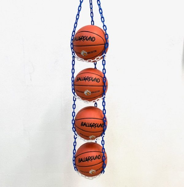1 stk BallOnWall Hanger boldholder til 4 Basketbolde - Blå