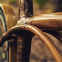 Close up of bamboo bicycle