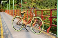 Bamboo bike with green tires on a safe bicycle lane in Bangkok