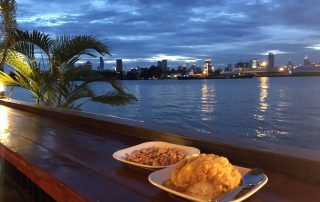Food with a view over Bangkok at night