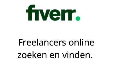 Logo Fiverr met tekst freelancers online zoeken en vinden