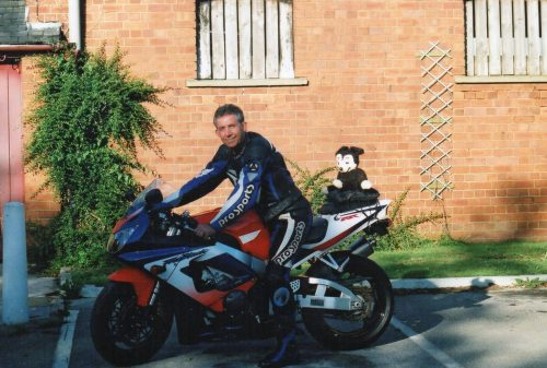 Barry Wilkinson with Eric the Bear; Charity Biking