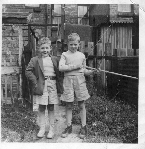 Barry Wilkinson with his brother John in the garden of 169 Darlaston Road circa 1962