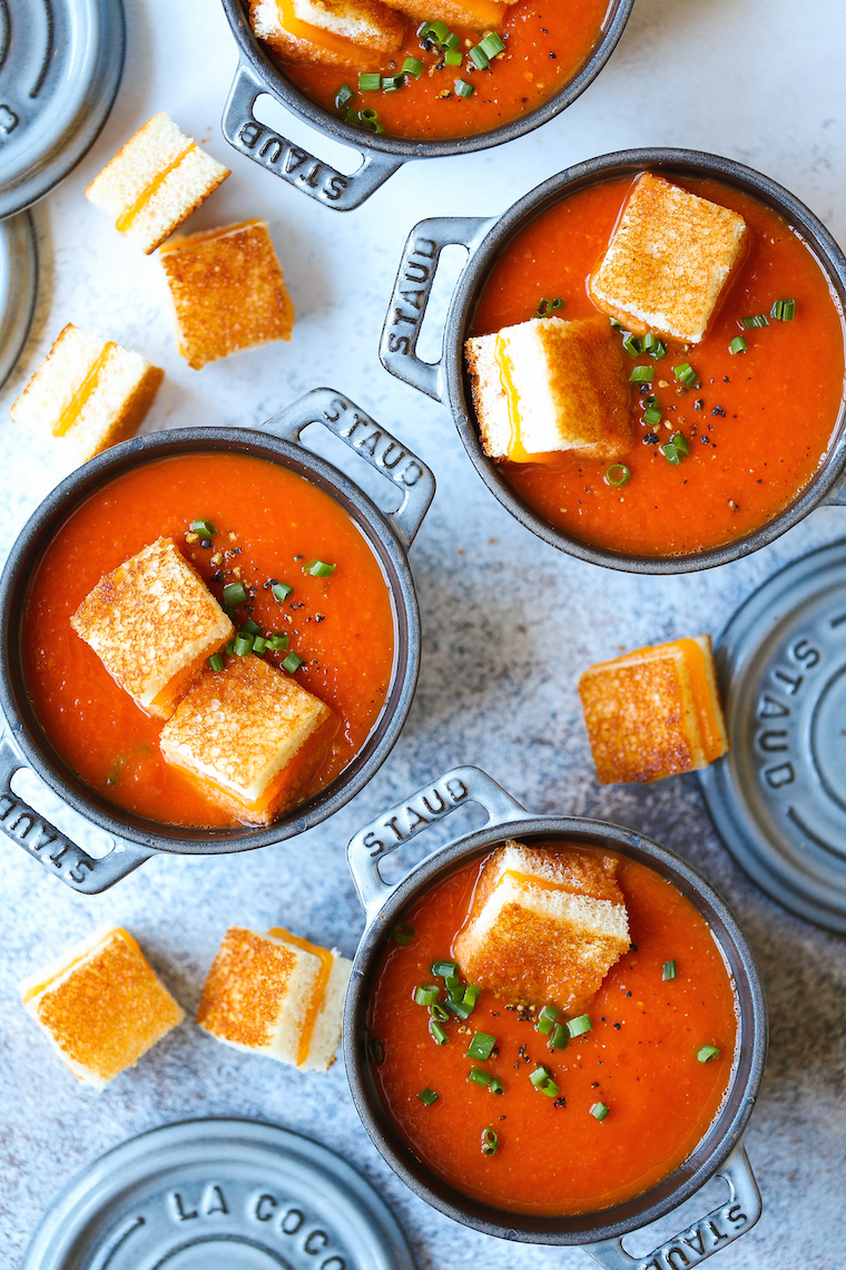 """CREAMY TOMATO SOUP WITH GRILLED CHEESE """"CROUTONS"""""""