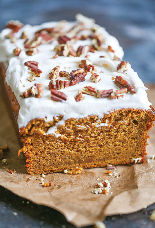 PUMPKIN SPICE BREAD WITH CREAM CHEESE FROSTING