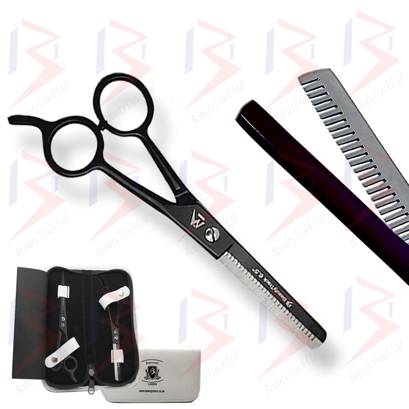 BeautyTrack Barber Scissors Set Basic Hair Cutting Shears 6.5 Inch Black 2