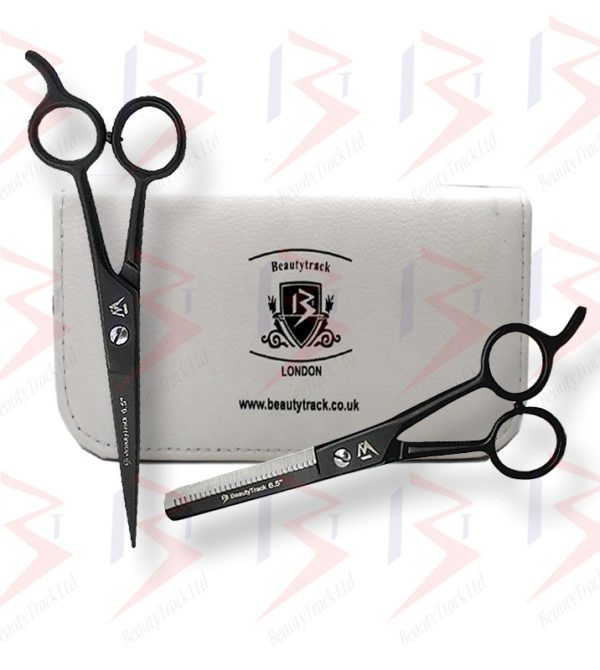 BeautyTrack Barber Scissors Set Basic Hair Cutting Shears 6.5 Inch Black