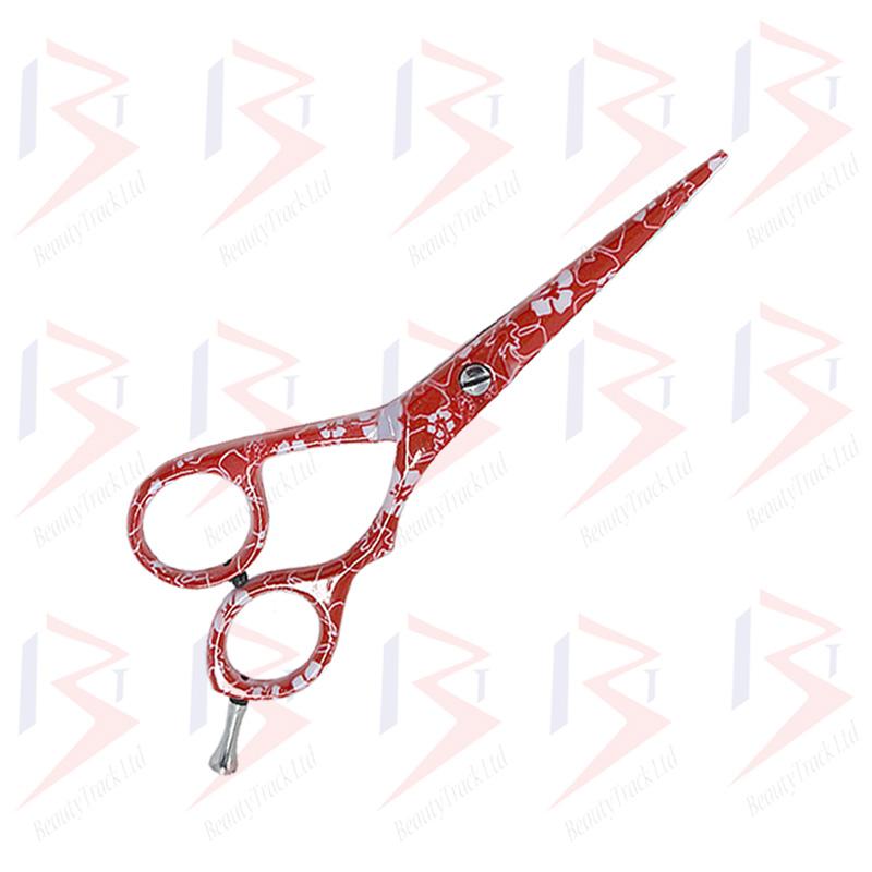 BeautyTrack Hairdressing Scissor Set Salon Shears 5.5 Red Flower Print 1