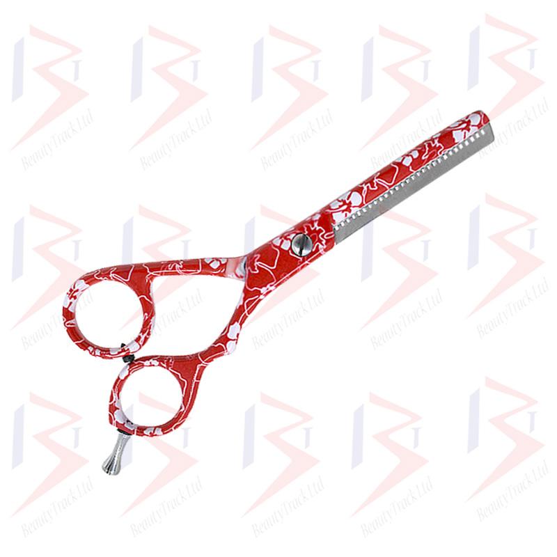 BeautyTrack Hairdressing Scissor Set Salon Shears 5.5 Red Flower Print 3