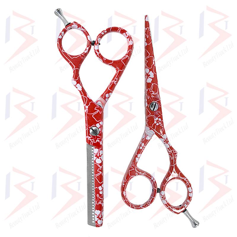 BeautyTrack Hairdressing Scissor Set Salon Shears 5.5 Red Flower Print 4