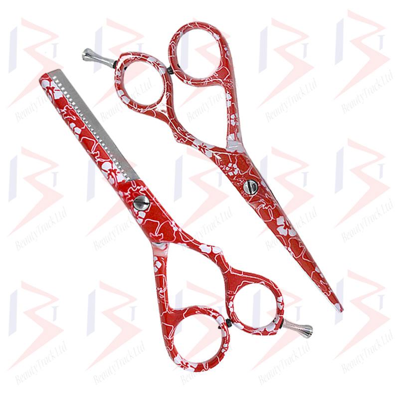 BeautyTrack Hairdressing Scissor Set Salon Shears 5.5 Red Flower Print